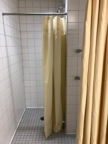 No door on the shower, just curtains.