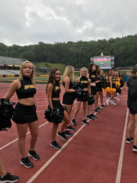 Cheerleaders as we enter the stadium.